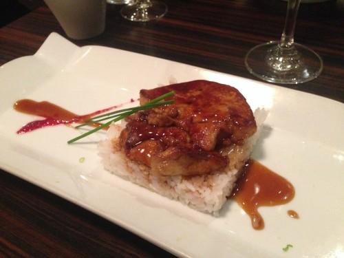 foie gras on sushi rice