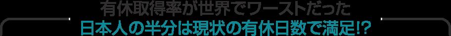 有休取得率が世界でワーストだった日本人の半分は現状の有休日数で満足!?