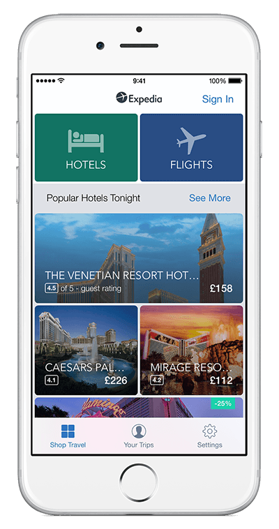 An iPhone showing Expedia app