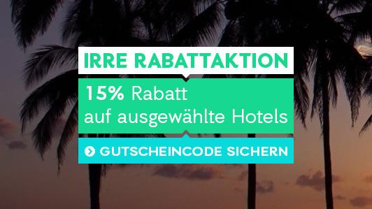 Nur für kurze Zeit: satte Rabatte auf Hotels weltweit.