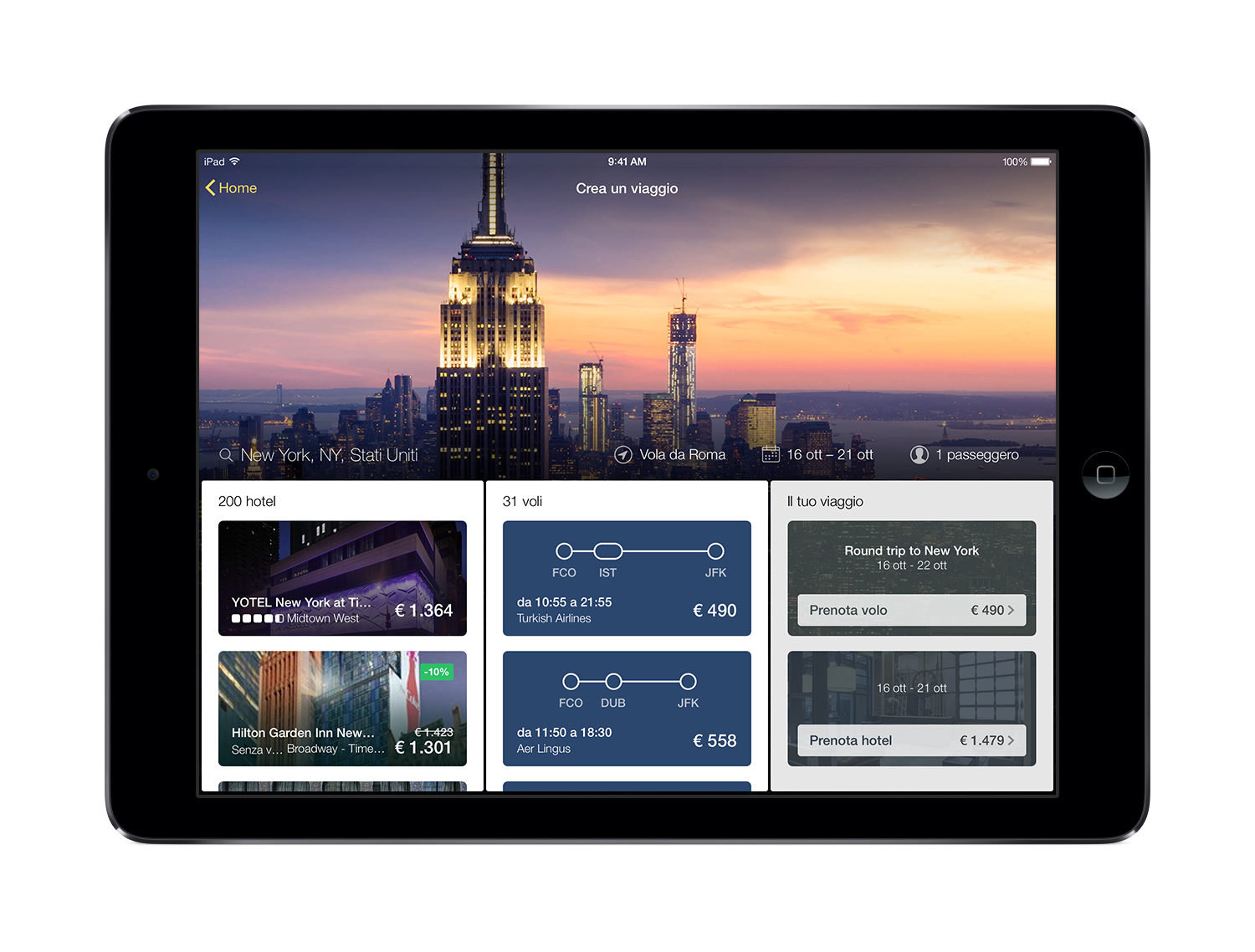 La nuova app Expedia per tablet