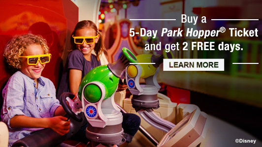 Disney - Buy 5 Day Park Hopper Ticket, get 2 free days
