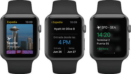 Aplicación de Expedia para Apple Watch
