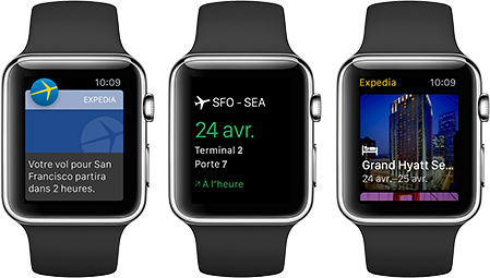 Appli Expedia pour Apple Watch