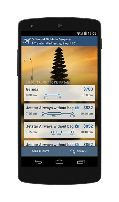 Mobile phone showing flight results on the app