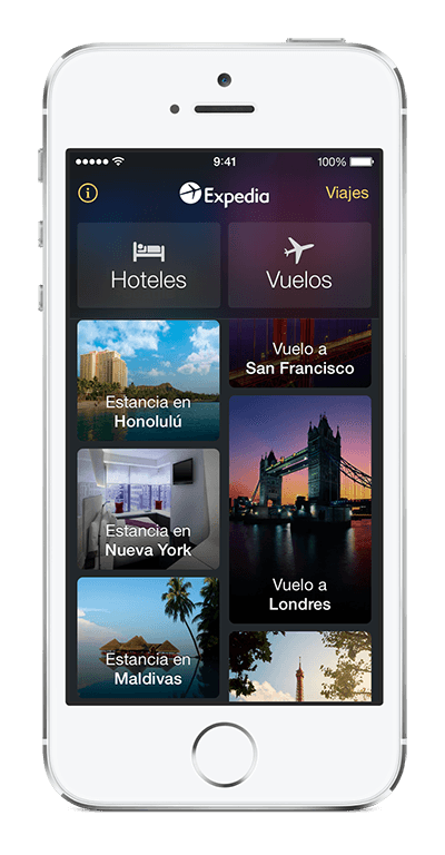 iPhone te muestra la app de Expedia