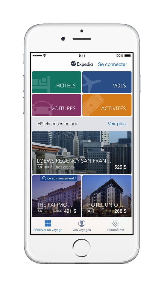 Un iPhone affichant l'application Expedia