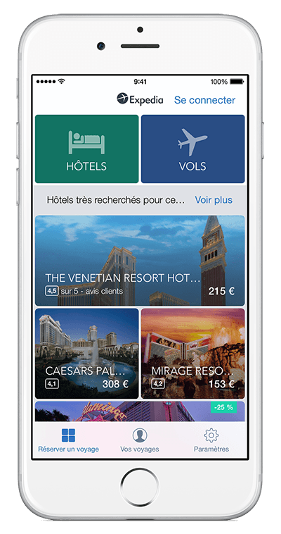 Un iPhone affichant l'appli Expedia