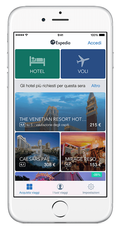 Un iPhone che mostra l'app Expedia