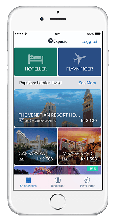En iPhone som viser Expedia-appen