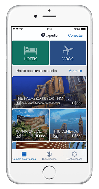 Um dispositivo iPhone mostrando o app da Expedia