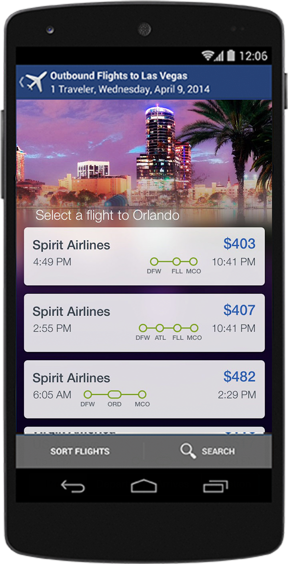 Mobile phone showing flights on the app
