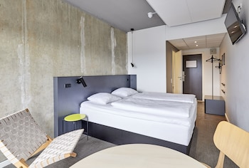 Allergivenligt sengetøj, skrivebord, strygejern/strygebræt, gratis Wi-Fi
