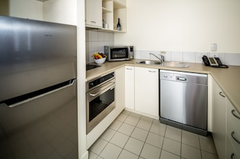 Fridge, microwave, cookware/dishes/utensils