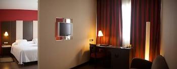 Minibar, caja fuerte, cortinas opacas y tabla de planchar con plancha